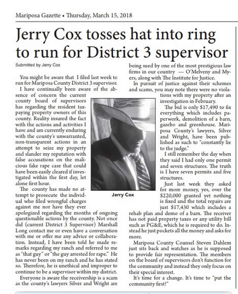 Jerry Cox Tosses hat into ring to run for District 3 Supervisor