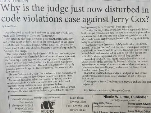 why is the judge just now disturbed in code violations against jerry cox Federal Lawsuit coming against Corrupt Mariposa County Jerry Cox Mariposa County California Ashley K. Harris